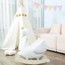 Girls Plush Swan Wooden Rocking Horse Toys Toddler Baby Ride on With Seat Chairs