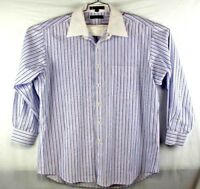 tommy hilfiger mens button front long sleeve dress shirt size 16.5 32-33 large