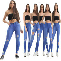 WOMENS LADIES GIRLS HIGH WAISTED DISTRESSED RIPPED SLIM SKINNY JEANS SIZE 6-14