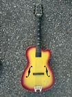 Vintage Emenee Tiger Sunburst 3/4 Polystyrene Guitar w/ Cool Wing-Ding Tuners for sale