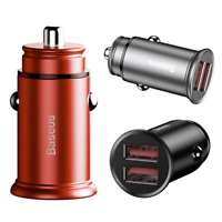 Baseus Dual USB Port Fast Charging Car Charger QC 3.0 For iPhone Samsung LG HTC
