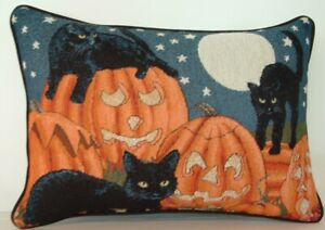 Halloween - Black Cats In Pumpkin Patch , Three Cat, Moon, Tapestry Pillow New