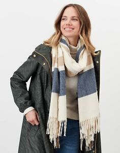 Joules Womens Farah Check Scarf - Cream Check - One Size
