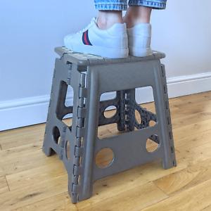 SMALL FOLDING STEP STOOL KITCHEN FOLDABLE GARDEN SEAT MULTI PURPOSE STORAGE GREY