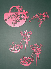 TATTERED LACE SASSY RED SHOES/HANDBAG DIE CUTS BIRTHDAY MOTHER/MUM DAUGHTER