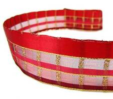 """5 Yds Red Gold Half Screen Semi Sheer Wired Ribbon 1 1/2""""W"""
