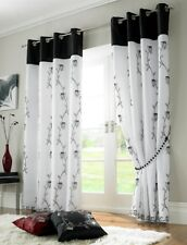 "BLACK WHITE RING TOP LINED EMBROIDERED DRAPES CURTAINS 58"" X 90"" - 145 X 229CM"