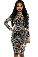 Vintage Tribal Tattoo Print mini bodycon dress club party summer wear Size 8-10