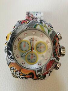 Invicta Bolt Zeus Hydroplated Armband Graffiti Weiß Chronograph 52mm Uhr TOP!!!