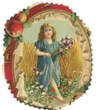 Vintage/Antique Post Card....VICTORIAN GIRL W/FLOWERS, oval....c1898