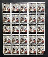 Block of 25 Vintage Holy Childhood, Happy Christmas Stamps