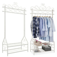 Vintage Clothes Stand and Rack with Garment Rail and 2 metal shelves HSR07W