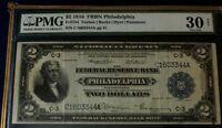 SERIES 1918 $2 PMG30 NET V/F FRB NOTE PHILADELPHIA WW I BATTLESHIP BACK   3570