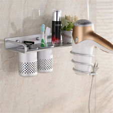 Multi-function Bathroom Wall Mounted Hair Dryer Comb Rack Space Aluminum Shelf