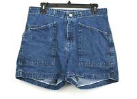 Lee Riveted Womens Dark Denim Slash Pockets Button Front Cotton Shorts 8 MED