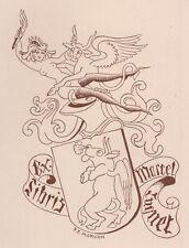 Erotisches exlibris Paul Morvan / Luquet Erotic Winged Horny Bull Heraldic