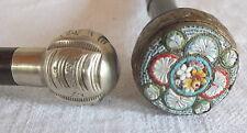 2 pommeaux ombrelle micro mosaique + boule métal argenté cane stick ombrella