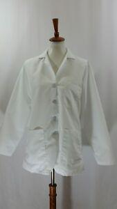 Red Kap Lab Coat size Large White Short Rounded Bottom Hem