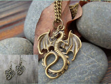 NEW 1 set of Retro Bronze Dragons pendant necklace & earrings Fashion Jewelry