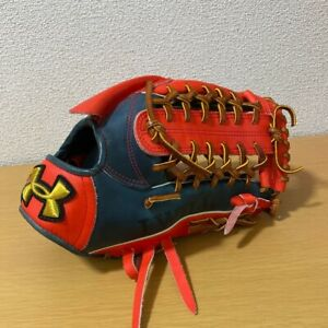 Under Armour Softball Glove Adult Size Right Throw Red/Navy for Outfield(J)