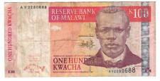 MALAWI 100 Kwacha VF Banknote (1 October 2003) P-46c Prefix AV Paper Money