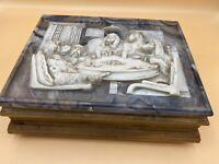 Vintage Incolay Stone Jewelry Box with Dogs Playing Poker