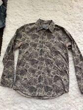 Men's LUCKY BRAND Brown Linen Button Up Long Sleeve Shirt Size Medium