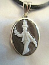 STERLING SILVER AMEDEO CAMEO PENDANT BLACK LEATHER CORD CHAIN