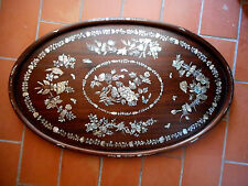 GRAND PLATEAU EN BOIS ET MARQUETERIE DE NACRE.Extrème-orient,Tonkin,Chine. XIX°.