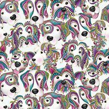 Fabric Dogs White Mardi Gras Floral Metallic White Bernatex Cotton 1/4 Yard 253W