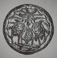Art tortues décor métallique conçoit des oeuvres d'art en métal haitian mur 38cm