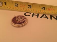 Burgundy Tweed And Silver Metal Chanel Paris Button Some Damage
