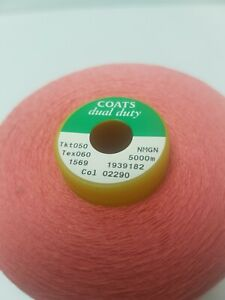 Coats Dual Duty Tex 060 5000m cone Polyester Corespun Sewing Thread X 1 Pink