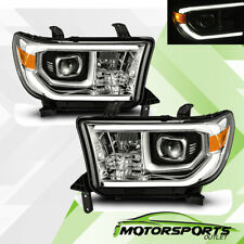 For Toyota 07-13 Tundra 08-17 Sequoia Chrome LED Tube Projector Headlights Pair