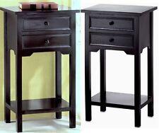Sale! ** BLACK CEDAR WOOD SIDE, END OR NIGHT TABLE W/ 2 DRAWERS & SHELF ** NIB