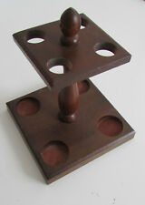 Vintage Solid Wood Square 4 Smoking Tobacco Pipes Holder Stand Made In Japan