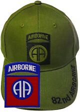 82nd Airborne Insignia Hat / U.S. Army Od Green Baseball Cap Free Extra Patch