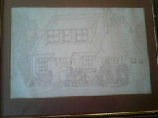 Outstanding Pencil Drawing of a homestead very detailed and signed J Short /1981