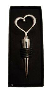 Heart Silver Tone Metal & Black Rubber Wine Bottle Stopper NEW