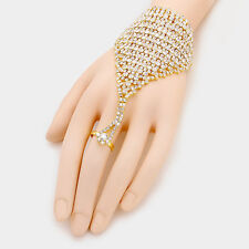 """7"""" gold crystal hand bracelet ring bridal prom pageant"""