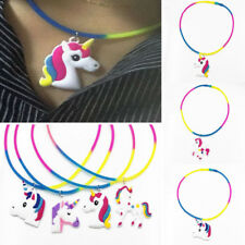 Colorful Silicone Necklace Unicorn Pendant Choker Charm Clavicle Jewelry Gift