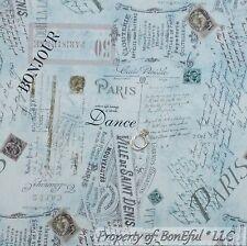 BonEful Fabric FQ Cotton Quilt VTG Blue Paris European French Country Word Dance