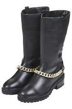 TOPSHOP BOOTS LEATHER CHAIN SIZE 37 39 40 RRP £89
