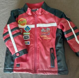 Disney cars Insulated Lined Red Faux Leather Toddler Jacket size 18-24mos