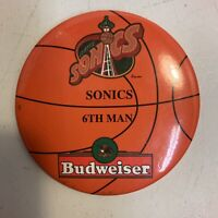 "Seattle Supersonics Sonics 6th Man Budweiser 2"" Pin Pinback Button NBABasketball"