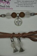 Brown Silver Lotus Bead Suede Cord Choker Necklace Long Boho Chic