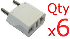 Europe EU Euro Round Plug Adapter 6pc- American US to European/Asia Style Plug