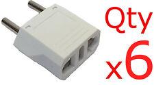 Europe EU Euro Round Plug Adapter 6pc- American US to European/Asia Style Plug