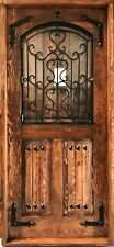 Rustic reclaimed solid Doug Fir door glass ironwork U choose dimension storybook