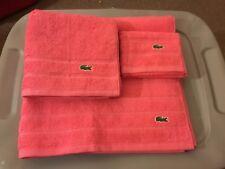 Lacoste Bath Towel Set 3 Piece Fandango Pink Bath, Hand & Wash Cloth